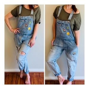 Denim Distressed Washed Overall/Sz:30